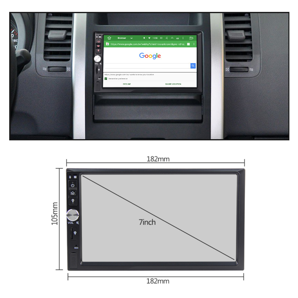 Eunavi 2 Din 7 inch Android 9.0 Car Radio Stereo Multimedia GPS Navigation TDA7851 WiFi Bluetooth 1024*600 touch Screen no dvd