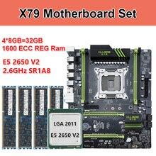 Комплект материнской платы Kllisre X79 с Xeon E5 2650 V2 4x8 ГБ = 32 Гб 1600 МГц DDR3 память ECC Reg ATX USB3.0 SATA3 PCI-E NVME M.2 SSD
