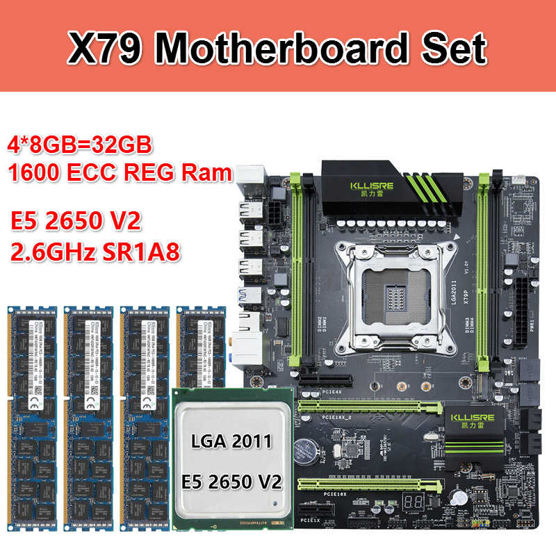 طقم لوحة أم Kllisre X79 مع ذاكرة Xeon E5 2650 V2 4x8GB = 32GB 1600MHz DDR3 ECC REG ذاكرة ATX USB3.0 SATA3 PCI-E NVME M.2 SSD