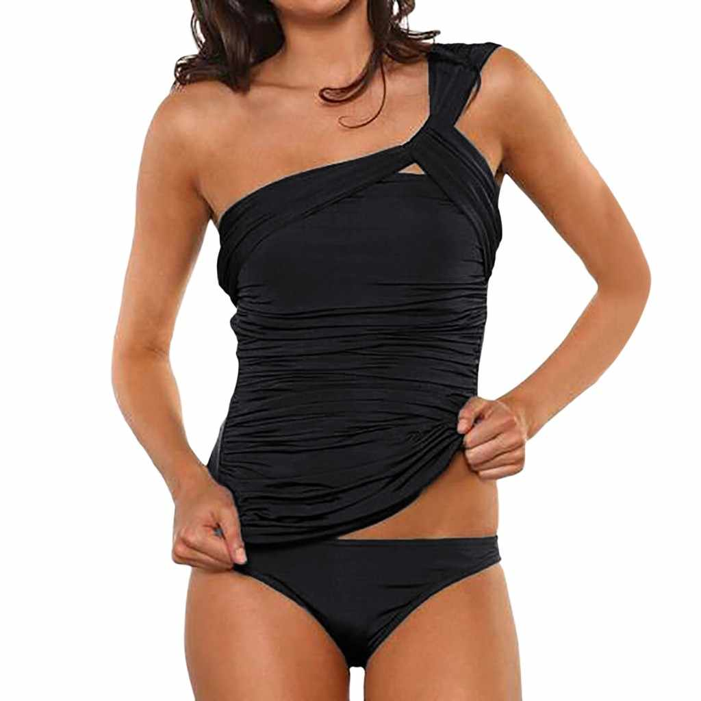 Split swimsuit tankini swimsuits women Swimsuit female Two Piece Ruched One Shoulder  Low Waist Bottoms Biquini mujer #YL2