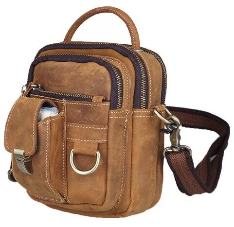 купить Crazy horse mini Genuine leather men's handbags sling crossbody bag shoulder small bag free shipping по цене 3399.2 рублей
