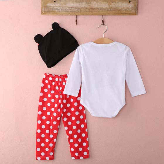5880d69c6a4 ... 3pcs Cute Baby Kids Girl Boy Outfits Set Minnie Mouse Clothes Set Long  Sleeve Romper Striped ...