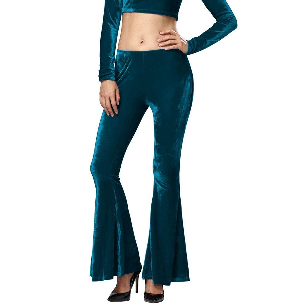 100% Waar Chic Vrouwen Fluwelen Hoge Taille Stretch Mode Slanke Flare Bell Bottom Broek Hippie Bohemian Broek Vrouwelijke Broek Bekwame Productie