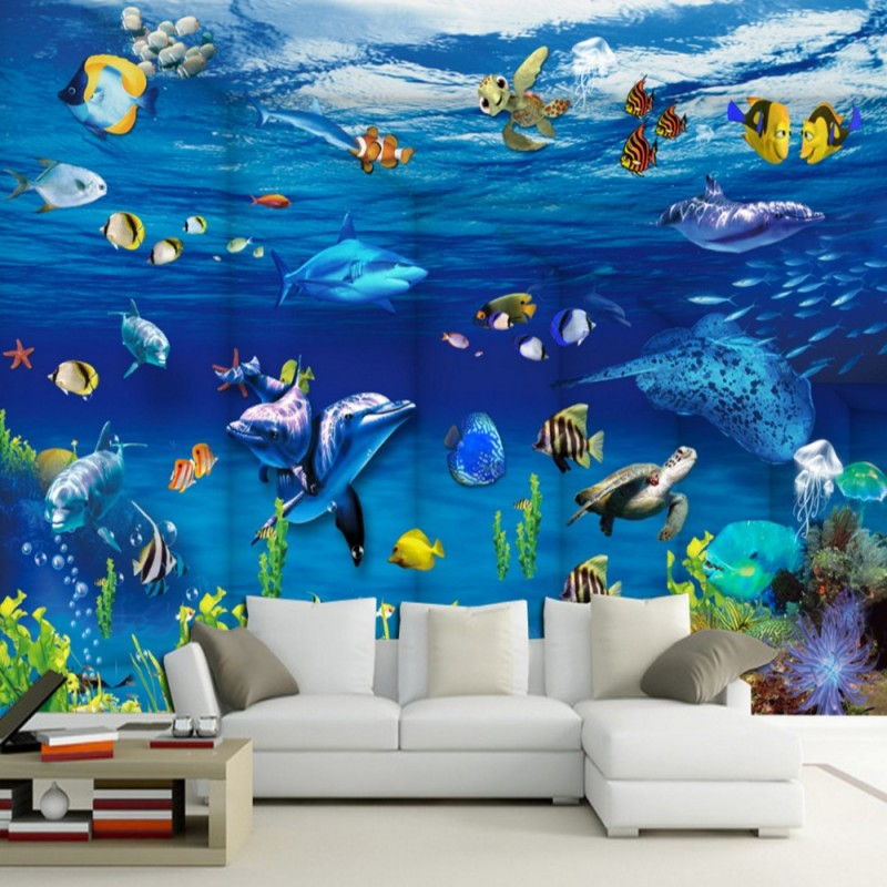 Dropship Fatman 3d Wall Paper Fantasy Ocean World Photo Wall Mural Aquarium Background Wallpapers Home Decor Papier Peint image