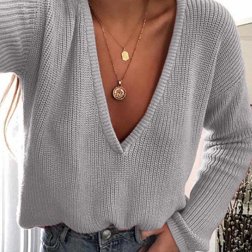 Feitong Women Casual knitted winter sweater Deep V Neck Loose Tops Long  Sleeve Pullover female autumn 79f406a6d0d8
