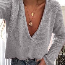 03d1ab9791 2018 New Fashion Women Casual Deep V Neck Knitted Sweater Jumper Tops Long  Sleeve Loose Solid