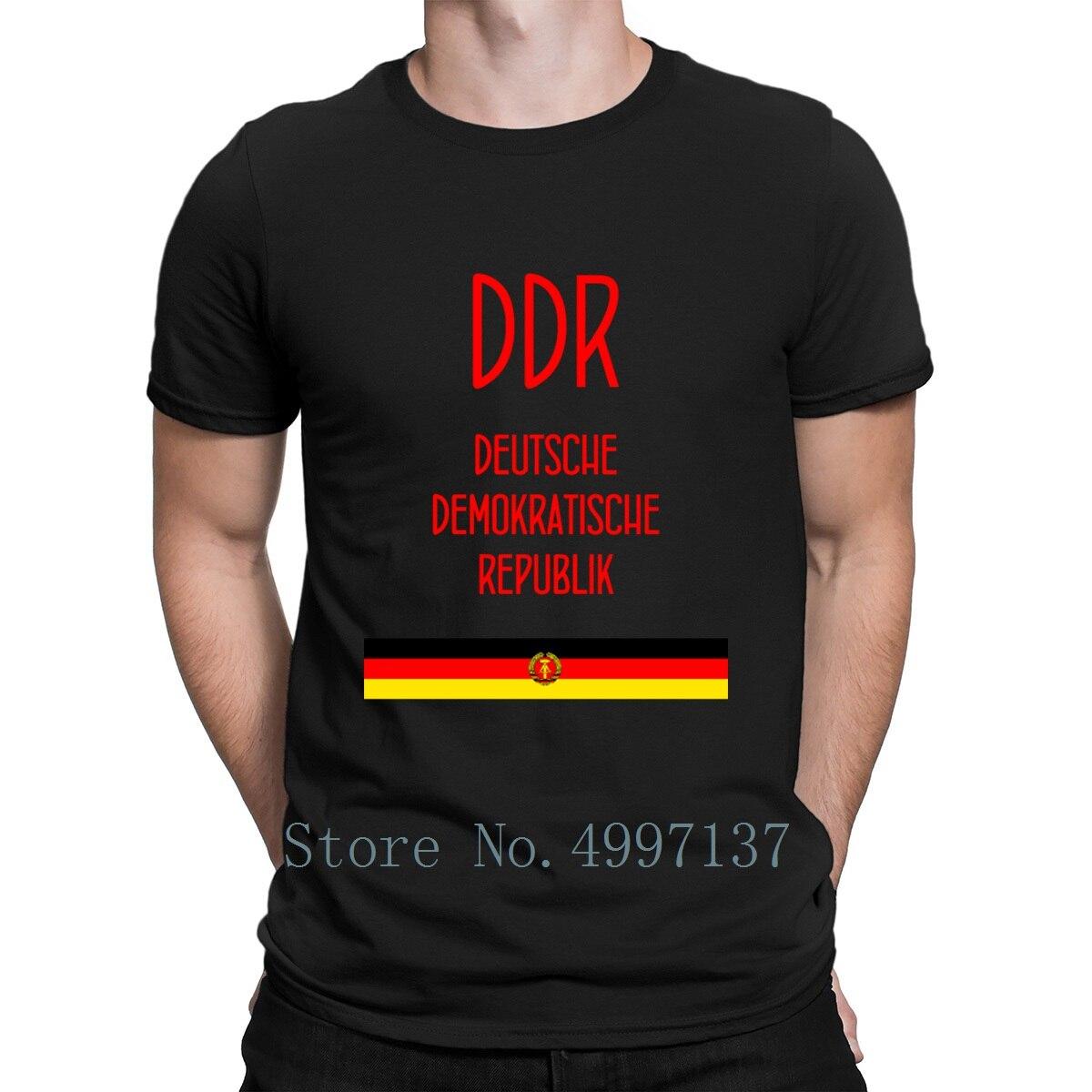 Ddr Deutsche Demokratische Republik Gdr Berlim T Camisa de Algodão Autêntica S-3xl Impressão Louco Primavera Outono Padrão Camisa Homme