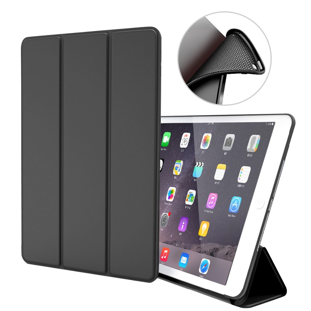 Smart Cover Case For iPad 2018 2017 air 2 air 1 5th 6th generation 9.7 inch PU Leather Auto Sleep Wake Silicone Soft Back A1893 image