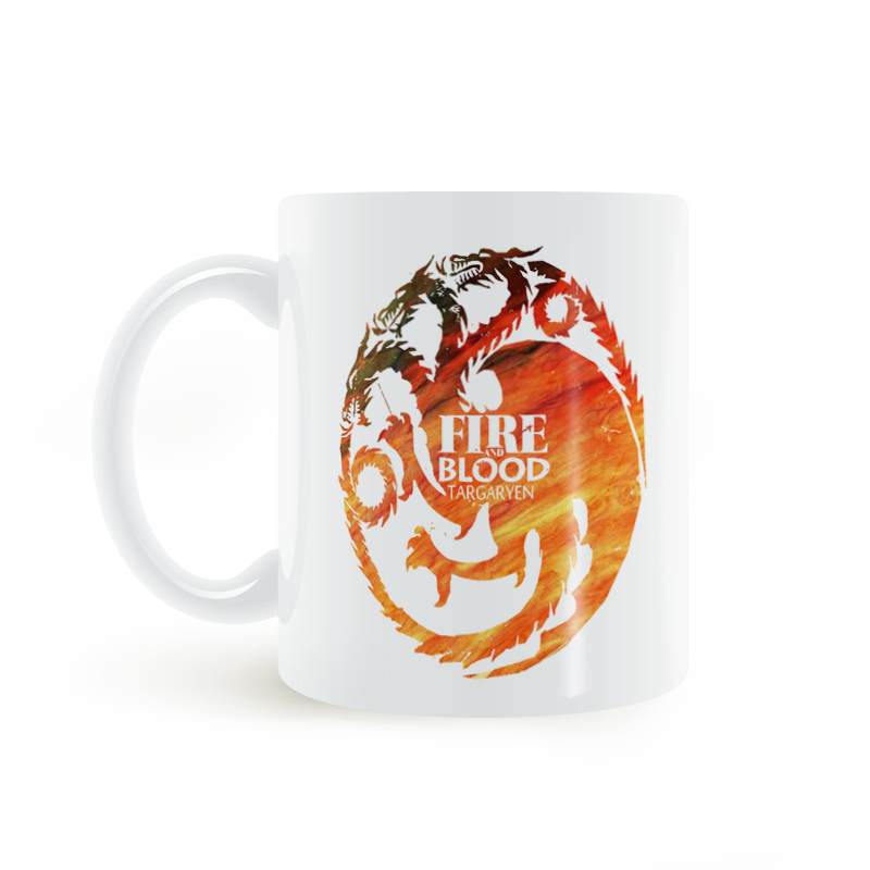 Game of Thrones Fire And Targaryen Coat of Arms Mug Coffee Milk Ceramic Creative DIY Gifts Home Decor Mugs 11oz T291