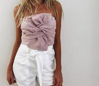 Sexy Suede Bow Strapless Top Casual Spring Zipper Camisole Tank Tops Women Tops Elegant Evening Party