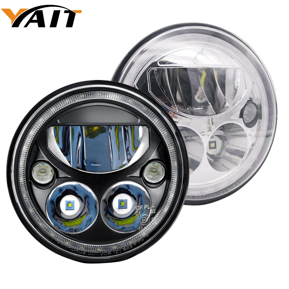 Yait 2pcs 7 Inch Round LED Headlight 7 Projector Headlamp For Jeep Wrangler Hummer Lada Niva
