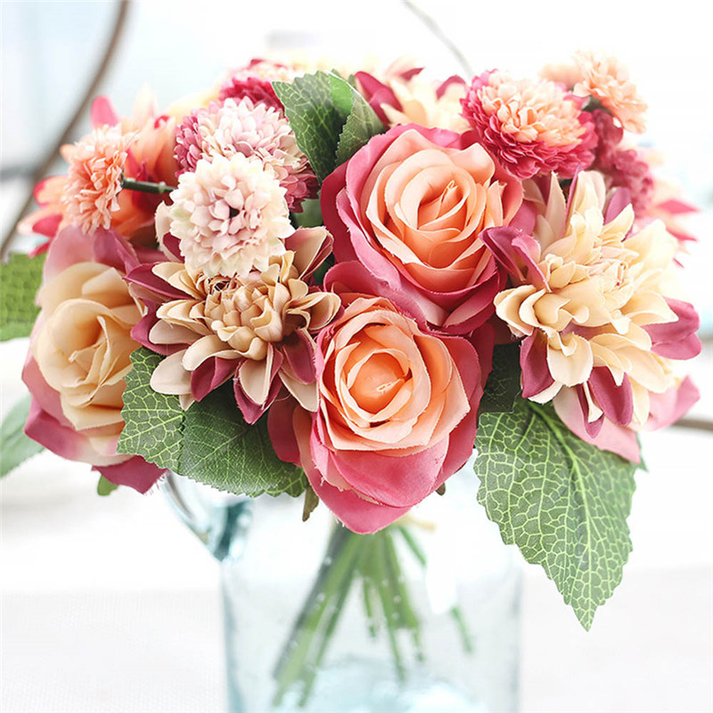 Charm Artificial Silk Rose Flower Bouquets Fake Open Dahlia Reusable Decoration Wedding Home Party Decoration fake rose flowers