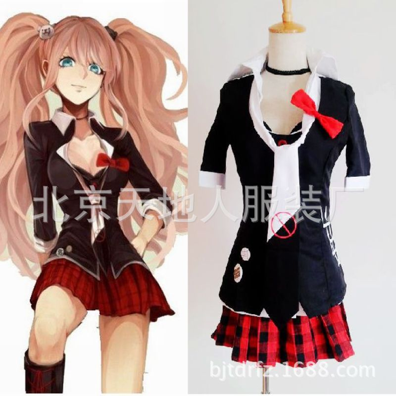 Image 4 - Danganronpa Cosplay Anime Junko Enoshima Emboitement Inushio Kimuchi Dangan Ronpa Trigger Happy Havoc Cosplay Costume wigs-in Anime Costumes from Novelty & Special Use