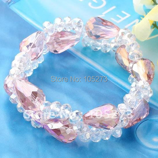 Charming!Sky Pink Drop Crystal Glass Beads Weave Stretch Bracelet 7.5inchs Fashion bracelet Free shipping NF234