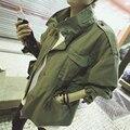 2017 Женщин Негабаритных Army Green Куртка Военный Стиль Погоны Украшенные Новая Корейская Мода Свободная Посадка