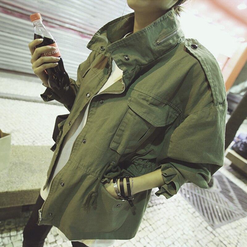 2017 Femmes Surdimensionné vert armée Veste Militaire Style Épaulettes Embelli Nouvelle Mode Coréenne Lâche Fit Vestes Streetwear