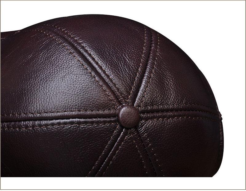 Genuine Leather Embossed Mens Baseball Cap - Brown Top View Close-up