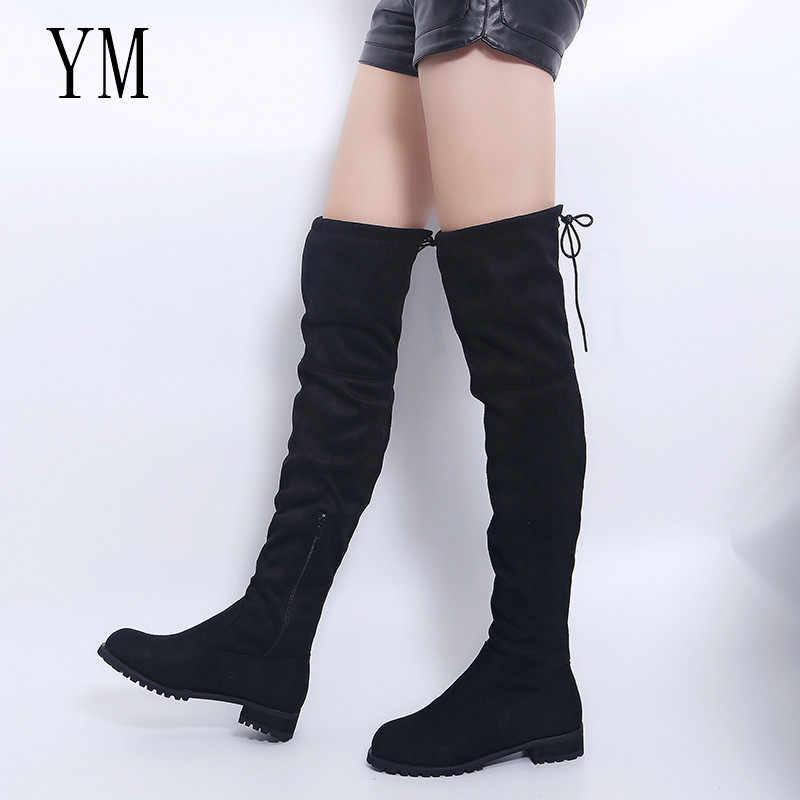 3 สีต้นขาสูงรองเท้าหญิงฤดูหนาวรองเท้าผู้หญิงกว่าเข่าบู๊ทส์ยืดแบนรองเท้าแฟชั่นเซ็กซี่ 2018 ใหม่รองเท้าบู๊ต 43
