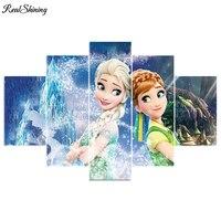 REALSHINING 5pcs Set Snow Girl Full Square DIY Diamond Painting Cross Stitch Mosaic Home Decoration Diamond