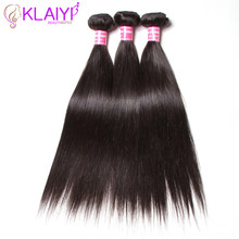 hot deal buy klaiyi hair weaves peruvian straight hair wave 8 to 30 inch human hair bundles 3 piece/lot double weft remy hair extensions
