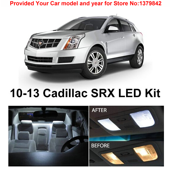 Free Shipping 15Pcs/Lot car-styling Xenon White Canbus Package Kit LED Interior Lights For Cadillac SRX 2010-2013