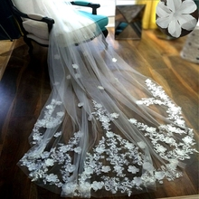 3 Meters Long Wedding Veils Cathedral Length Appliques 3D Flowers Floral On Train Cute Bridal Vail Wedding Accessories velo