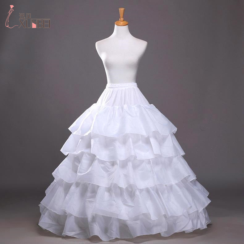 Free Shipping 4 Hoops Petticoat For Wedding Dress Cheap Free Size Petticoat Crinoline Underskirt With Ruffles Bridal Accessories