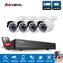 AHCVBIVN 4CH 4MP CCTV SYSTEM Hybrid AHD DVR NVR with 4PCS 4MP AHD Surveillance Camera Security System Kit IR-CUT Night Vision