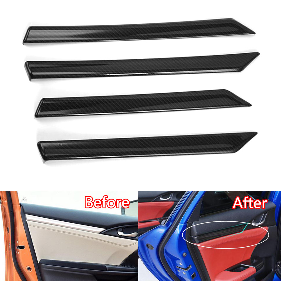 YAQUICKA 4Pcs/set Carbon Fiber ABS Car Interior Door Panel Decoration Strips Trim Cover Styling For Honda Civic 2016 2017 LHD yaquicka carbon fiber style 4x car interior door side panel cover strips trim for land rover discovery 5 2017 car styling covers