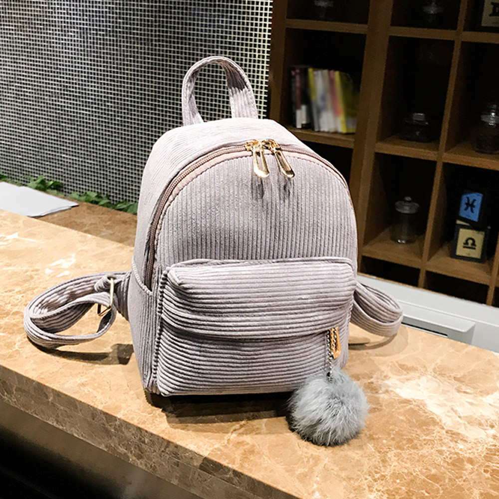 Anti-theft Backpack Girl Hairball Corduroy School Bag Student Backpack Satchel Travel Shoulder Bag Preppy Style Soft  Teenage