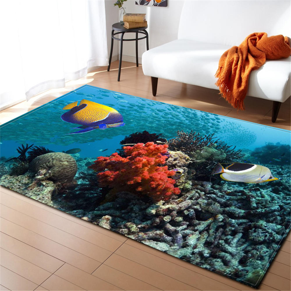 US $27.74 33% OFF|3D Underwater World Carpet Living Room Home Textile Rug Area Rugs Soft Flannel Kid Crawling Mat Children Room Anti slip