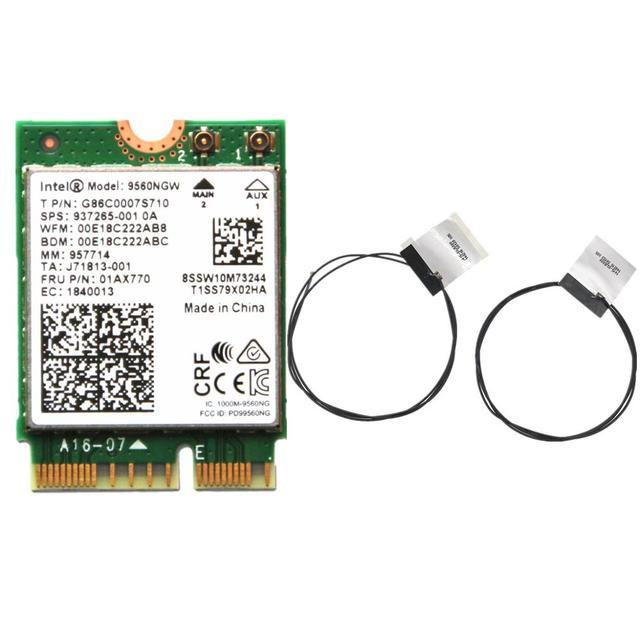 인텔 9560ngw 802.11ac ngff 용 듀얼 밴드 무선 ac 9560: cnvi 2.4g/5g 2x2 wifi 카드 bluetooth 5.0 fru 01ax770 + 안테나