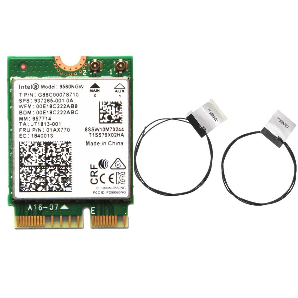 Dual Band Wireless AC 9560 For Intel 9560NGW 802.11ac NGFF: CNVI 2.4G/5G 2x2 WiFi Card Bluetooth 5.0 + Antennas