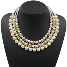 Statement necklace fashion for women 2017 collar bead brand chunky female chain bib pearl necklaces & pendants vintage Jewelry
