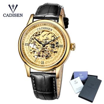 Cadisen Golden Watches Men Skeleton Mechanical Watch Stainless Steel Top Brands Luxury Man Watch Montre Homme Leather Wristwatch Mechanical Watches