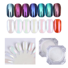 7 Boxes Mirror Glitter Powder Nail Dust Pearl Shell Chameleon Set Shimmer Gold Purple Decorations Nail Pigment Dust for UV Gel