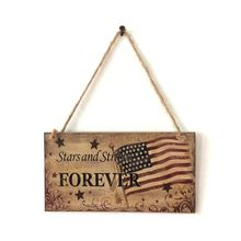 Vintage Wooden Hanging Plaque Stars and Stripes Forever Sign Board Room Wall Door Home Decoration Gift