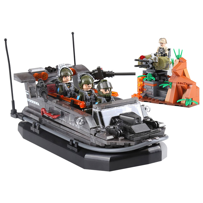 compatible legoinglys Military ww2 Assault boats Ship Assemble Building Blocks model figures with arms toys for children gift lepin 22001 pirate ship imperial warships model building block briks toys gift 1717pcs compatible legoed 10210