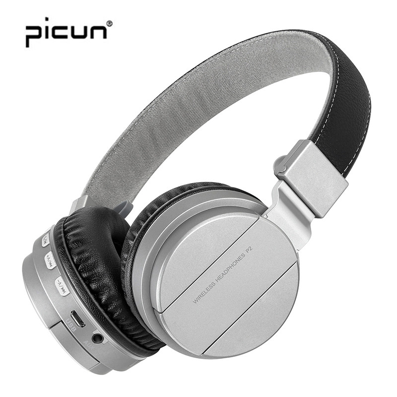 Picun True P2 Bluetooth Headset Wireless Headphones with Mic Super bass Earbuds Portable Support TF Card for a Mobile phone PC