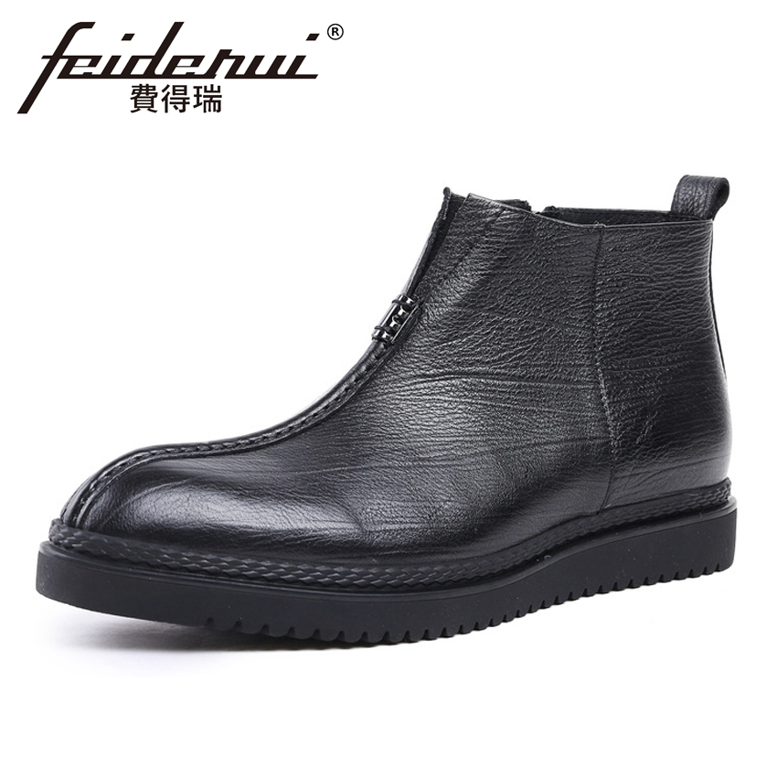 2018 New Arrival Genuine Leather Men's Ankle Boots Round Toe Flat Platform Martin Cowboy Man Comfortable Outdoor Shoes YMX205 krusdan luxury brand platform man handmad outdoor ankle boots genuine leather round toe classic men s cowboy martin shoes