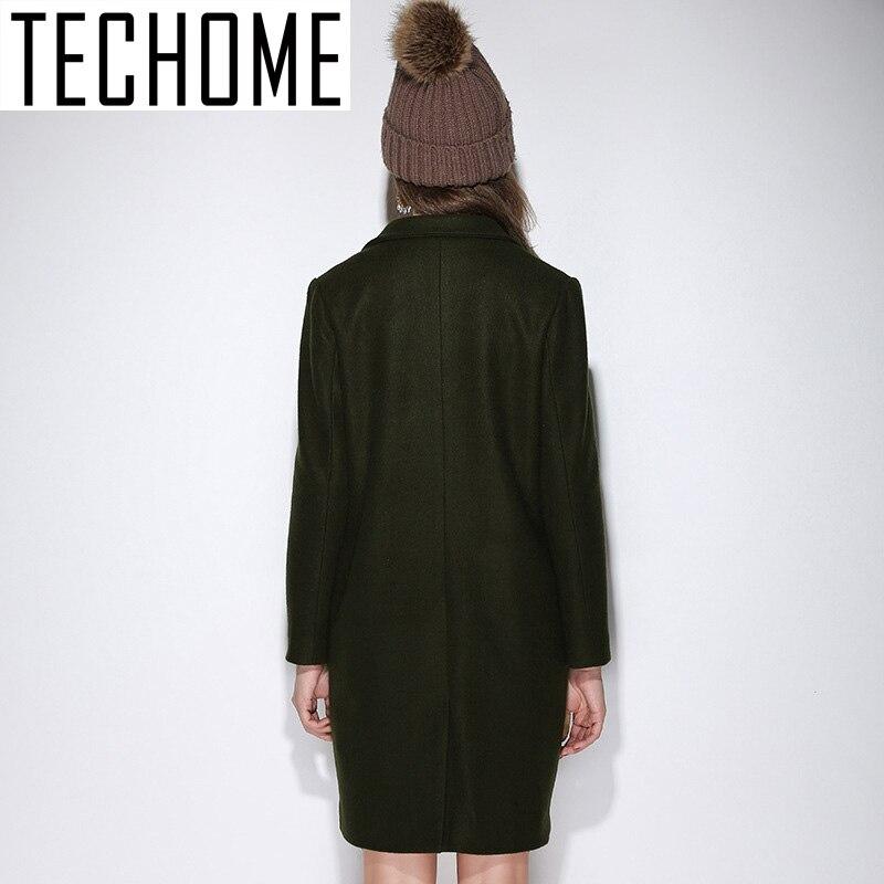 Hiver 2016 De L Costume Femmes 5xl Col Longues Femme Mince Laine Green Taille Style Manteau Soild Veste Techome Long Army Automne pEC1x4qww