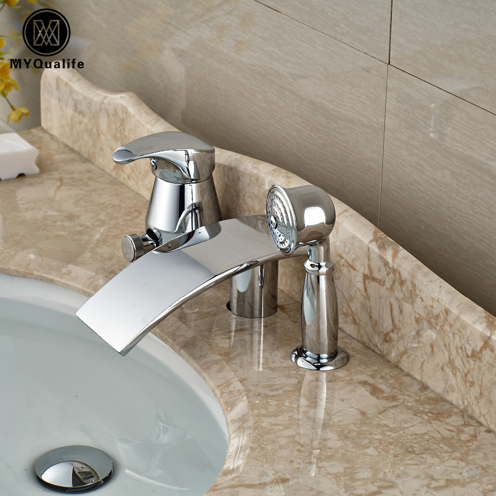High-end Brass 3pcs Waterfall Spout Bathtub Mixer Faucet Tap Single Handle Pull Out Bath Basin Sink Faucets soild brass bathroom sink faucet single handle waterfall spout bathtub mixer tap chrome