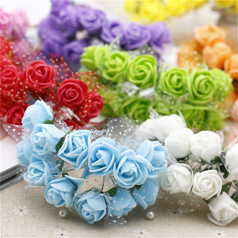 12pcs / lot MIni Valentine Gift  Artificial Silk Rose Flower Lace foam for ..