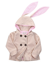 2016 Marque Enfants Costumes Automne Hiver Chaud Filles Lapin Manteau À Manches Longues Veste À Capuche Outwear