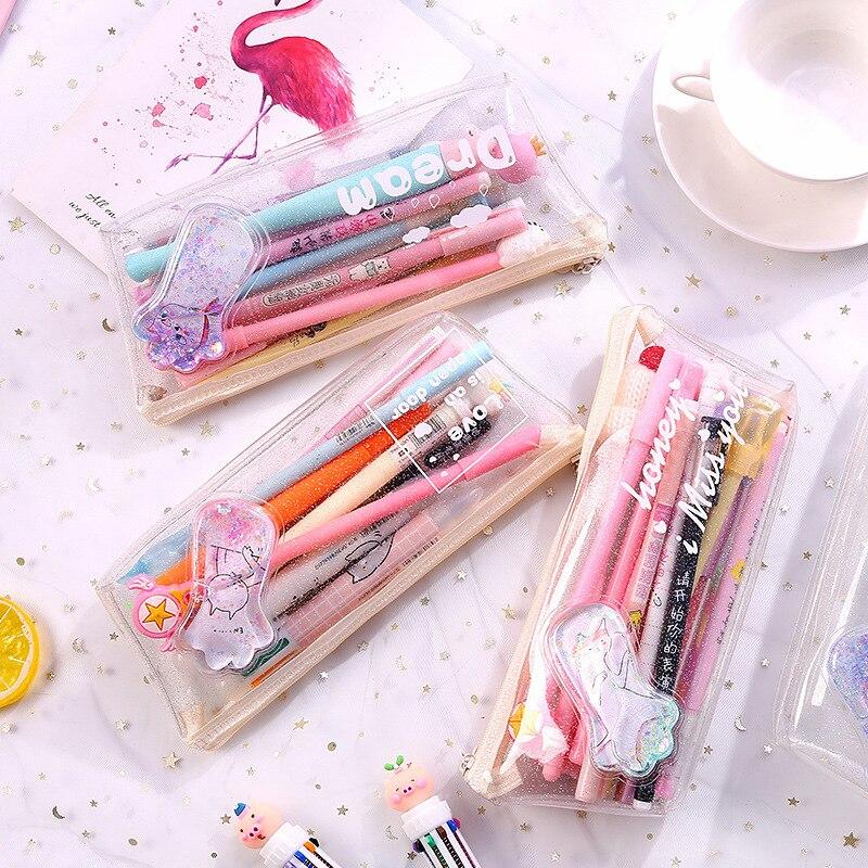 Cute Pvc Transparent Foot Print Paw Cartoon Liquid Water Pencil Bag & Case Kawaii Storage Pen Bag For School Kids Gift Wholesale