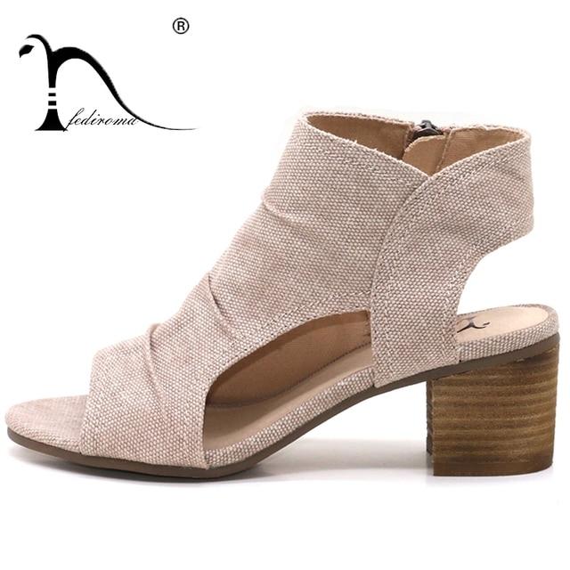 Sandali delle donne di Estate del Cuoio Genuino Tacchi Open Toe Sandali  delle Donne A Basso