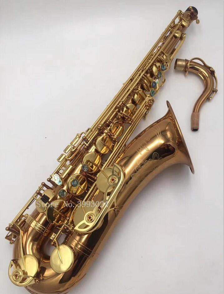 New Coffee Gold 875EX Tenor Saxophone Gold Key B Flat Professional Saxofone with Mouthpiece Patches Pads Reeds Bend Neck free shipping new high quality tenor saxophone france r54 b flat black gold nickel professional musical instruments