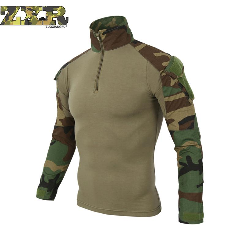 Man Multi Cam Camouflage T-shirts Army Camo Combat Tactical T Shirt For Men Military Men Long Sleeve T-shirt Hunt T-shirts men military tactical outdoor shirts 100% cotton breathable long sleeve shirt army multi pockets swat shooting urban sports