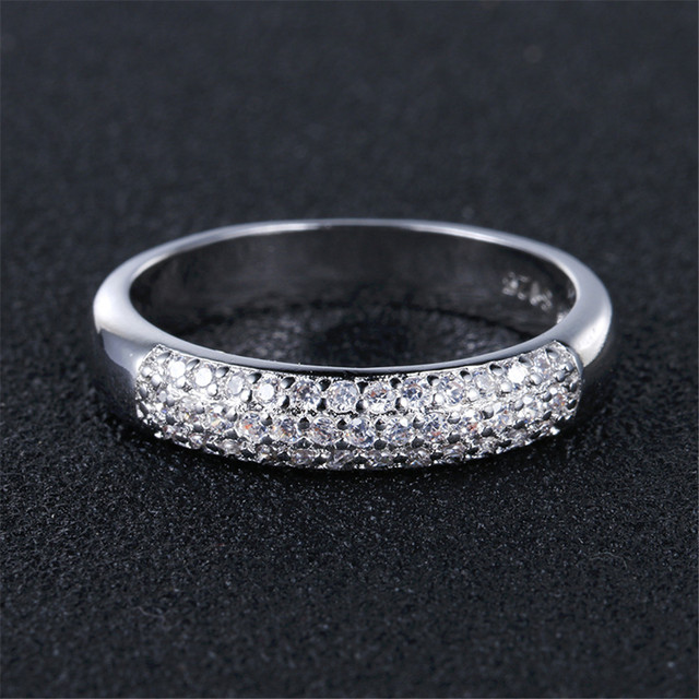 DODO AAA Zircon Rings Silver Color Band Rings Jewelry 2