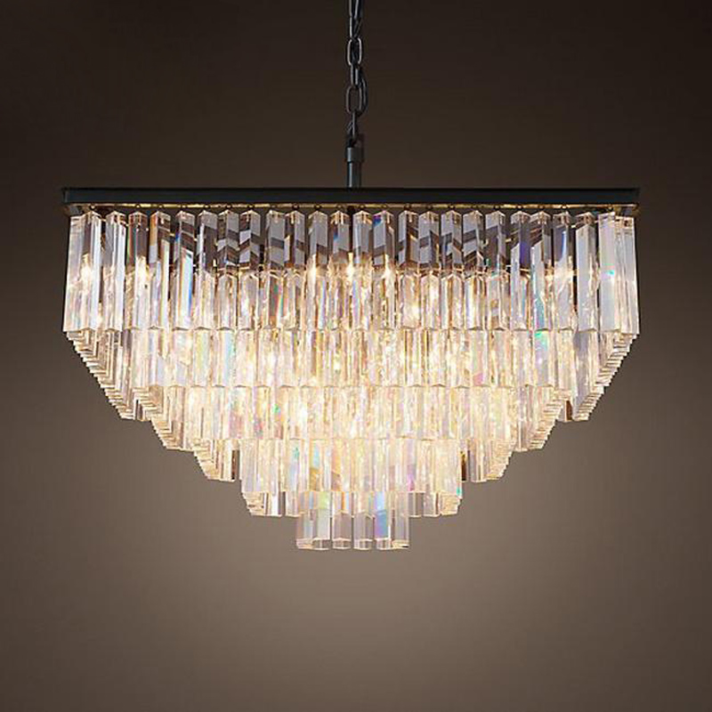 ZX Luxury American Pendant Lamp Crystal Retro Large Chandelier Contracted E14 LED Restaurant Hall Lighting Rectangle